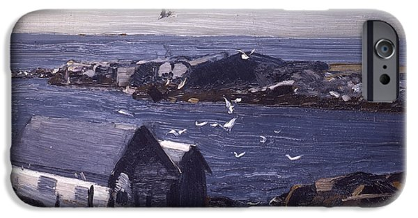 Concept Paintings iPhone Cases - The Gulls of Monhegan iPhone Case by Bellows