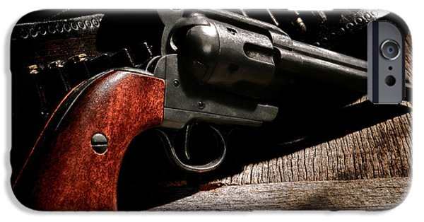 Saloons iPhone Cases - The Gun that Won the West iPhone Case by Olivier Le Queinec