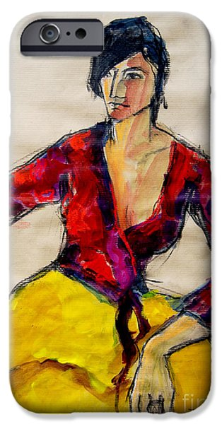 Daydream iPhone Cases - The gypsy - Pia #2 - figure series iPhone Case by Mona Edulesco