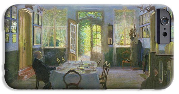 Dining Hall iPhone Cases - The Hall of the Manor House in Waltershof iPhone Case by Hans Olde