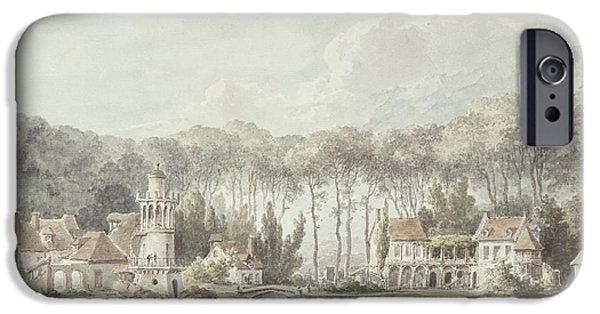Romanticism iPhone Cases - The Hameau, Petit Trianon, 1786 Wc iPhone Case by Claude Louis Chatelet