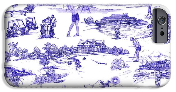 Patterned Drawings iPhone Cases - The Hamptons Historical Golf Courses iPhone Case by Kimberly McSparran