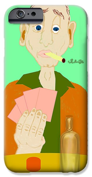 Chip Drawings iPhone Cases - The Hand That Was Dealt iPhone Case by Pharris Art