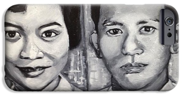 Monotone Paintings iPhone Cases - The Handsome Couple iPhone Case by Belinda Low
