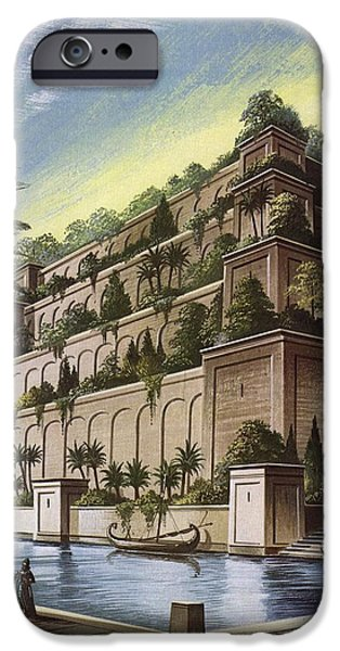 Babylon iPhone Cases - The Hanging Gardens Of Babylon Colour Litho iPhone Case by English School