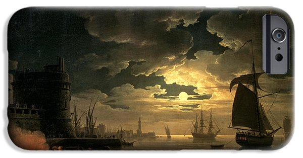 Recently Sold -  - Sailboat iPhone Cases - The Harbor of Palermo iPhone Case by Claude Joseph Vernet