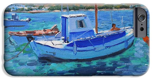 Water Vessels Paintings iPhone Cases - The Harbor  Tinos iPhone Case by Andrew Macara