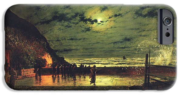 Spray Paintings iPhone Cases - The Harbour Flare iPhone Case by John Atkinson Grimshaw