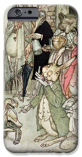 Fable iPhone Cases - The Hare And The Tortoise, Illustration From Aesops Fables, Published By Heinemann, 1912 Colour iPhone Case by Arthur Rackham