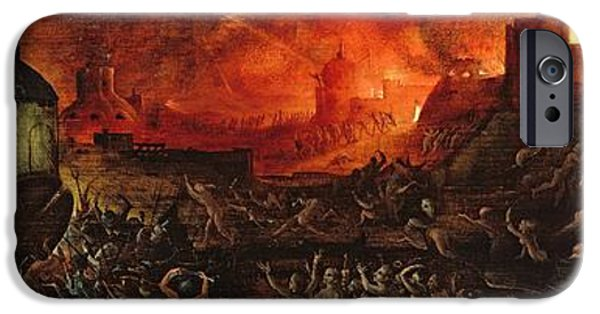 Inferno iPhone Cases - The Harrowing Of Hell Oil On Panel iPhone Case by Herri met de Bles