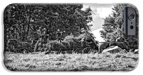 Amish Photographs iPhone Cases - The Harvest bw iPhone Case by Steve Harrington