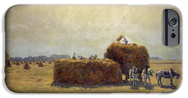 Agriculture iPhone Cases - The Harvest Oil On Canvas iPhone Case by Pierre-Georges Dieterle