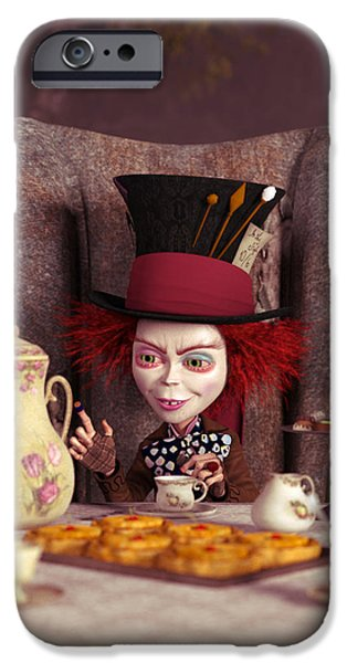 Mad Hatter Digital Art iPhone Cases - The Hatter -  A Mad Tea Party iPhone Case by Liam Liberty
