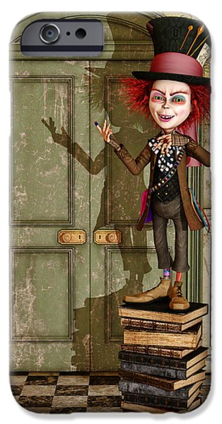 Mad Hatter iPhone Cases - The Hatter - Alice in Wonderland Art iPhone Case by Liam Liberty