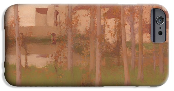Eerie Paintings iPhone Cases - The Haunted Chateau  iPhone Case by David Gauld