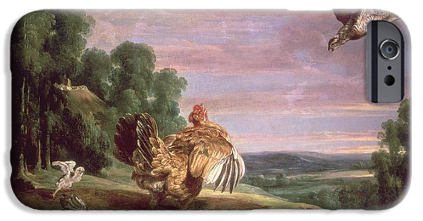 Chickens iPhone Cases - The Hawk And The Hen iPhone Case by Frans Snyders or Snijders