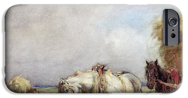 At Work iPhone Cases - The Hay Wagon iPhone Case by Nathaniel Hughes John Baird