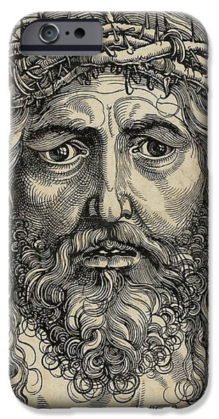 Miracle Pyrography iPhone Cases - The Head of Christ Crowned with Thorns iPhone Case by Libellule Gallery