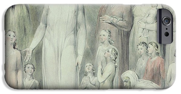 Miracle iPhone Cases - The Healing of the Woman with an Issue of Blood iPhone Case by William Blake