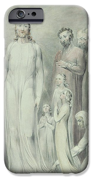 The Healing of the Woman with an Issue of Blood iPhone Case by William Blake