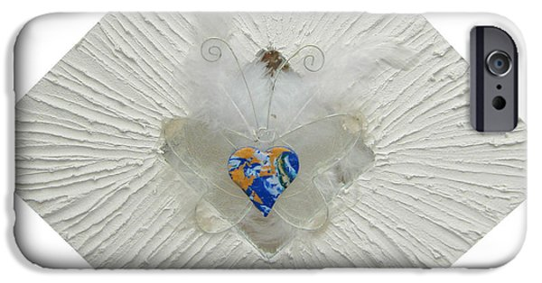 Wings Reliefs iPhone Cases - The heart of goddess mother earth gets wings iPhone Case by Heidi Sieber