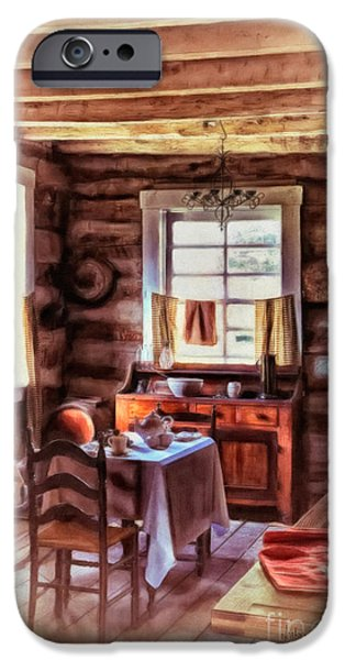 Cabin Window Digital iPhone Cases - The Heart Of The Home iPhone Case by Lois Bryan