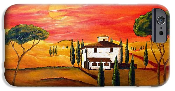 Tuscan Sunset Paintings iPhone Cases - The Heat of Tuscany iPhone Case by Christine Huwer