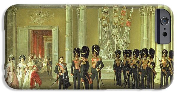 Gathering Photographs iPhone Cases - The Heraldic Hall In The Winter Palace, St Petersburg, 1838 Oil On Canvas iPhone Case by Adolphe Ladurner