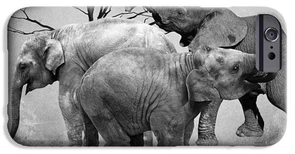 Elephants Mixed Media iPhone Cases - The herd 3 iPhone Case by Sharon Lisa Clarke