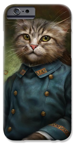 Cat Reflection iPhone Cases - The Hermitage Court Confectioner Apprentice Cat iPhone Case by Eldar Zakirov
