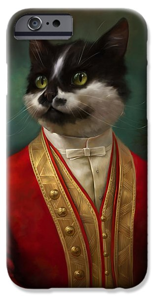 Cat Reflection iPhone Cases - The Hermitage Court waiter cat iPhone Case by Eldar Zakirov