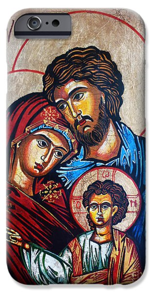 Religious iPhone Cases - The Holy Family Icon iPhone Case by Ryszard Sleczka