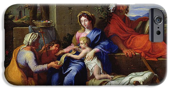 Baptist Paintings iPhone Cases - The Holy Family iPhone Case by Louis Licherie de Beuron