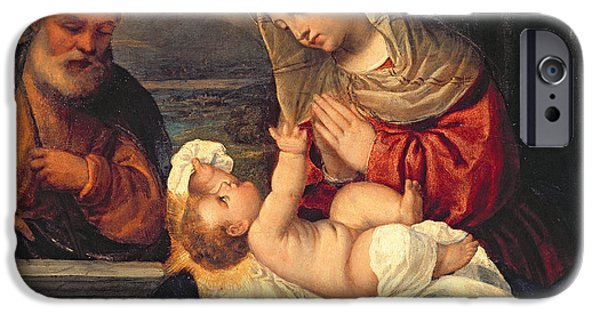 Renaissance iPhone Cases - The Holy Family iPhone Case by Polidoro da Lanciano