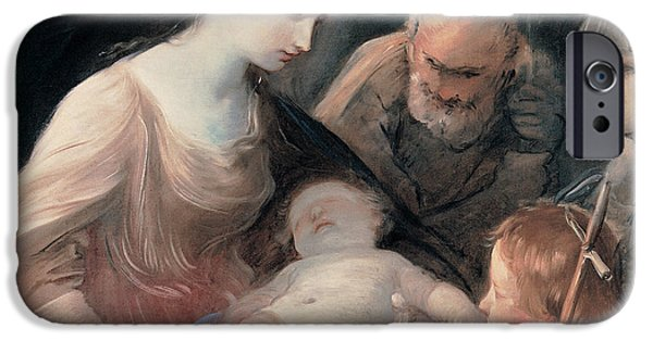 Young Paintings iPhone Cases - The Holy Family with St Elizabeth and St John the Baptist iPhone Case by Guido Reni