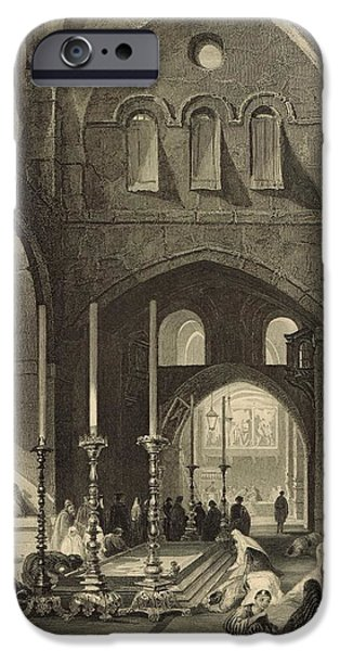 Sepulchre Drawings iPhone Cases - The Holy Sepulchre 1886 Engraving iPhone Case by Antique Engravings