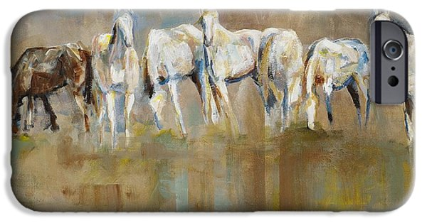 White Horses iPhone Cases - The Horizon Line iPhone Case by Frances Marino