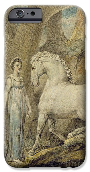 Blake iPhone Cases - The Horse iPhone Case by William Blake