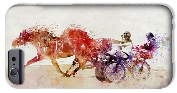 Horse Racing Mixed Media iPhone Cases - Horse Racing watercolor iPhone Case by Marian Voicu