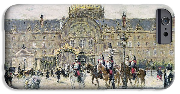 The Horse iPhone Cases - The Hotel des Invalides iPhone Case by Jean Francois Raffaelli