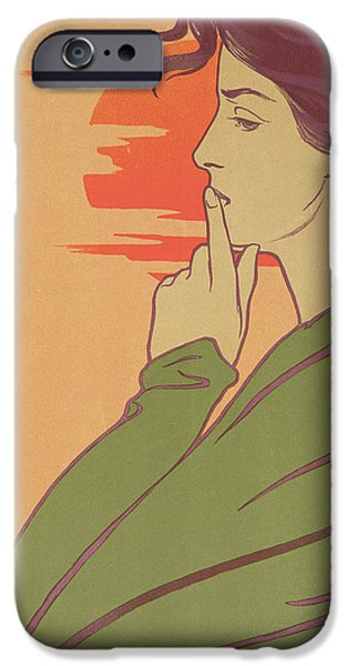 Contemplative iPhone Cases - The Hour Of Silence iPhone Case by Henri Georges Jean Isidore Meunier
