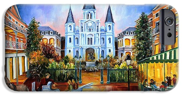 Sunset Paintings iPhone Cases - The Hours on Jackson Square iPhone Case by Diane Millsap