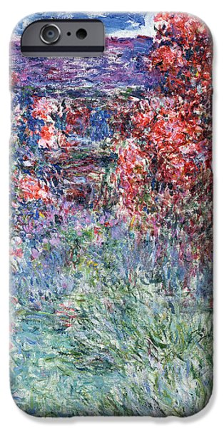 The Houses iPhone Cases - The House at Giverny under the Roses iPhone Case by Claude Monet