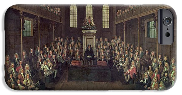 Politician Photographs iPhone Cases - The House Of Commons In Session, 1710 Oil On Canvas iPhone Case by Peter Tillemans