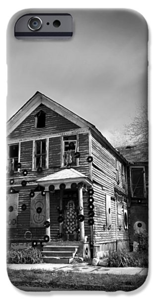 Art Of Soul Music iPhone Cases - The House of Soul At The Heidelberg Project - Detroit Michigan - BW iPhone Case by Gordon Dean II