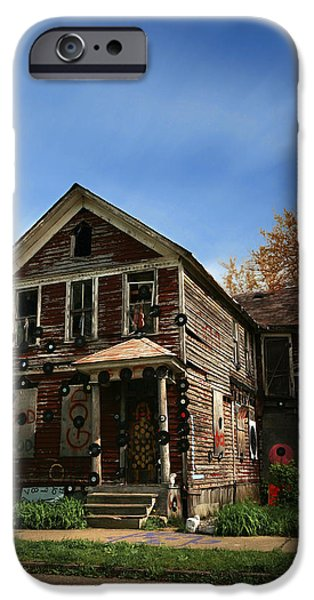 Art Of Soul Music iPhone Cases - The House of Soul At The Heidelberg Project - Detroit Michigan iPhone Case by Gordon Dean II