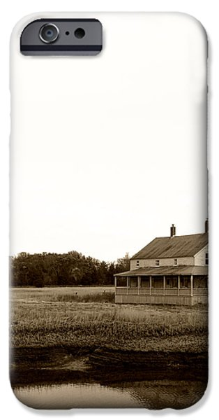 Salt Marsh. New England iPhone Cases - The House On Essex Salt Marsh-Sepia iPhone Case by K Hines