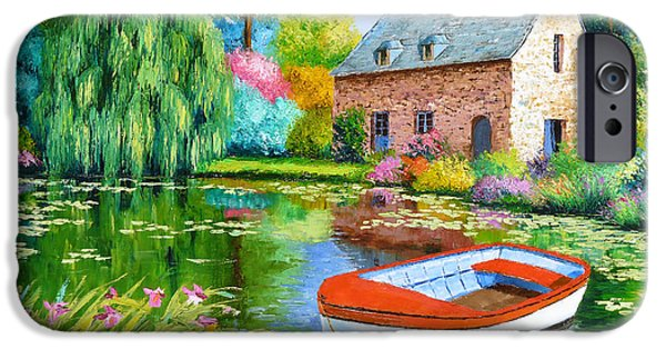 Weeping Willow Tree iPhone Cases - The House Pond iPhone Case by Jean-Marc Janiaczyk