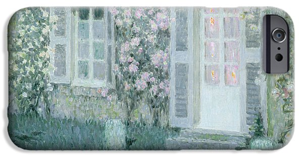The Houses iPhone Cases - The House with Roses iPhone Case by Henri Eugene Augustin Le Sidaner