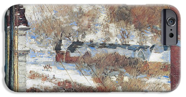 Childe iPhone Cases - The Hovel and the Skyscraper iPhone Case by Childe Hassam